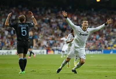 Cristiano Ronaldo esulta dopo il gol decisivo ieri sera (Infophoto)