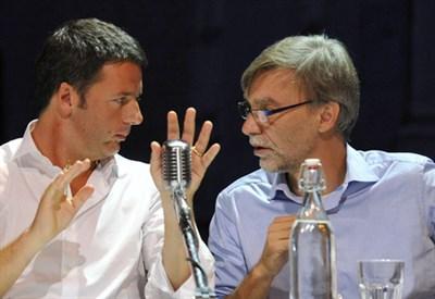Renzi e Delrio ai tempi della Leopolda: la fantasia al potere (Infophoto)