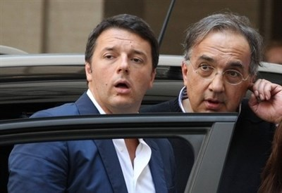 Marchionne e Renzi (Infophoto)