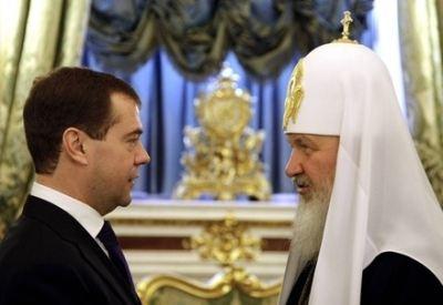 2009, l'allora presidente russo Medvedev incontra il patriarca Kirill (InfpPhoto)