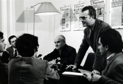 Eugenio Scalfari al alvoro in via Po (Foto l'Espresso-Repubblica)