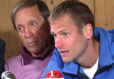 Alexander Schwazer e Sandro Donati (a s.) in conferenza stampa (Foto M. Pozza)