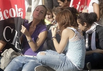 Giovani precari dei Cobas in protesta (InfoPhoto)