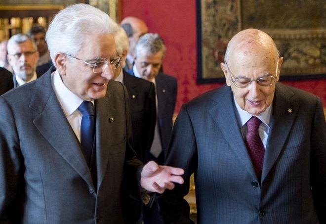 Sergio Mattarella con Giorgio Napolitano (LaPresse)