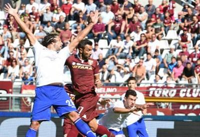 Fabio Quagliarella, 32 anni, segna il primo gol di testa (INFOPHOTO)
