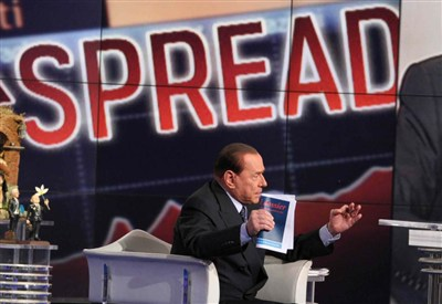 Silvio Berlusconi in tv (Infophoto)