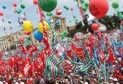 Una manifestazione dei sindacati