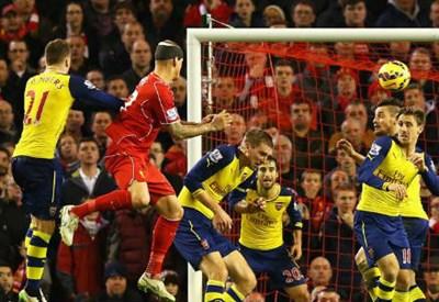 Il colpo di testa di Martin Skrtel, 30 anni, per il pareggio del Liverpool (dall'account Twitter ufficiale @premierleague)