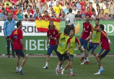 Un allenamento della Spagna (Infophoto)