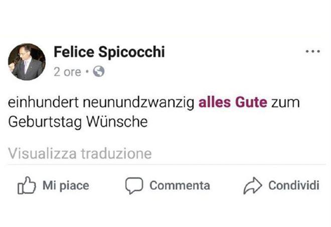 Il post del prof con gli auguri a Hitler - Facebook