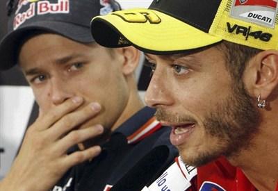 Casey Stoner e Valentino Rossi (Infophoto)