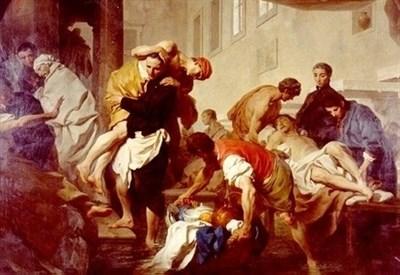 Pierre Subleyras, San Camillo De Lellis pone in salvo gli ammalati del Santo Spirito (1746) (Immagine d'archivio)