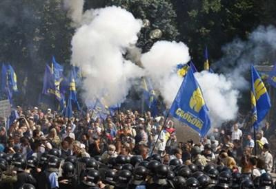La manifestazione dei nazionalisti di Svoboda