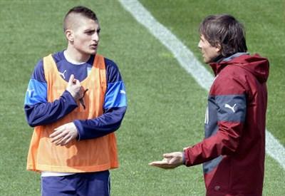 Marco Verratti (sinistra), 22 anni con Antonio Conte, 45 (INFOPHOTO)