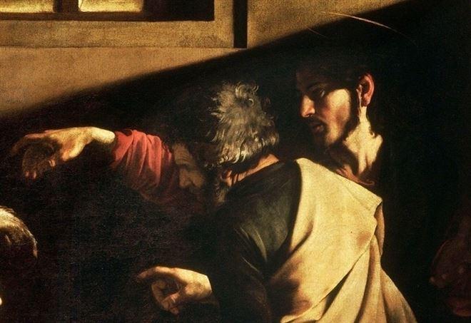 Caravaggio, Vocazione di San Matteo, particolare (1599-1600)