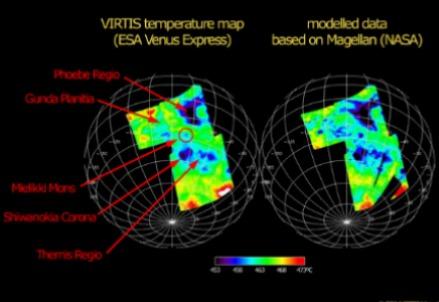 La mappa delle temperature di Venere: confronto con il modello (cc_ESA)