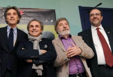 Da sinistra: l'assessore Michele Coppola, il presidente del Museo del Cinema Ugo Nespolo, il presidente del TFF Gianni Amelio e l'assessore Maurizio Braccialarghe