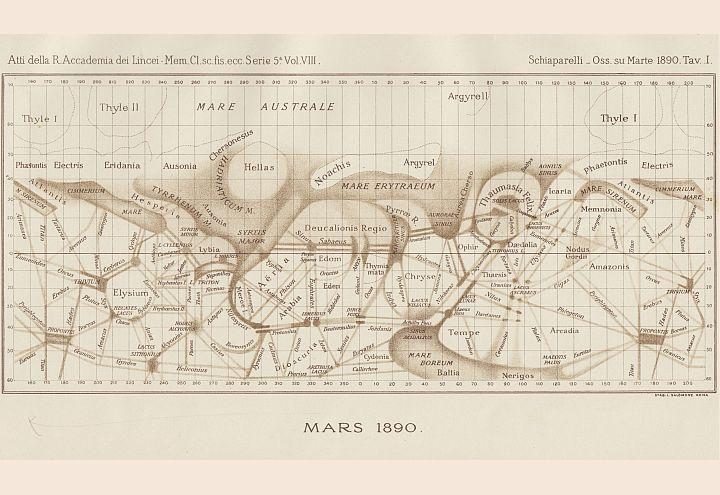 Mappa areografica dai disegni di Giovanni Virginio Schiaparelli (1835-1910) [Credit INAF Brera]