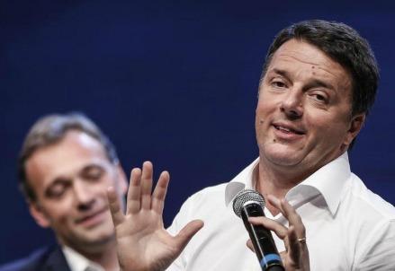 Matteo Renzi ieri sera alla Leopolda (LaPresse)