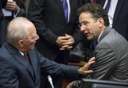 Wolfgang Schauble e Jeroen Dijsselbloem (LaPresse)