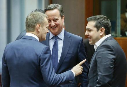 Tusk, Cameron e Tsipras (LaPresse)
