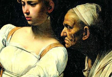 Caravaggio, Giuditta che taglia la testa a Oloferne, particolare (1598-99) (Roma, Palazzo Barberini)