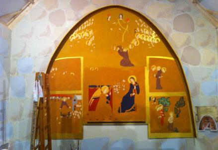 La copia della pala della Porziuncola dipinta da Anna Formaggio
